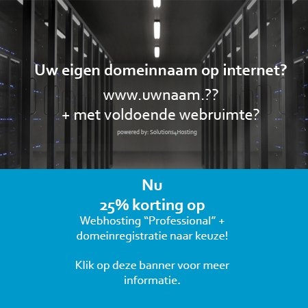 25 % korting op webhosting Professional en domeinregistratie naar keuze!