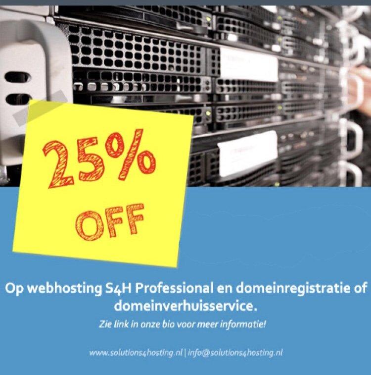 25% korting op hosting en domein