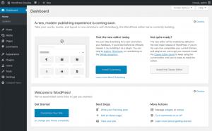 WordPress 5.2 Dashboard