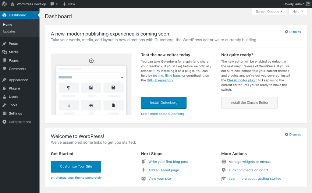 WordPress 5.2 Dashboard