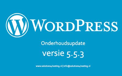 Software-update: WordPress 5.5.3 – Onderhoudsupdate
