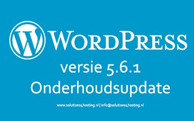Software-update: WordPress 5.6.1 – Onderhoudsupdate