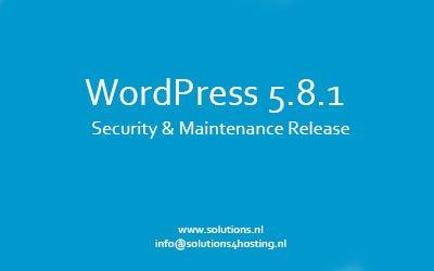 WordPress 5.8.1 – Security & Maintenance Release